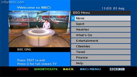 BBCi Text service on Freeview - Menu