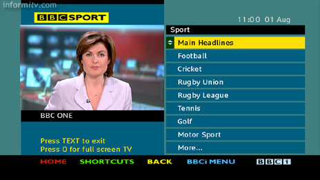 BBCi Text service on Freeview - Sport