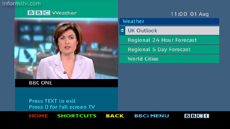 BBCi Text service on Freeview - Weather