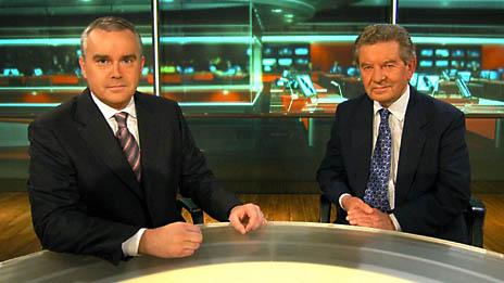 Huw Edwards with Richard Baker. Photo: BBC