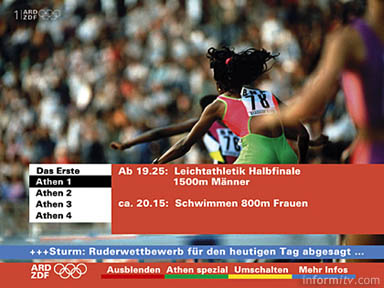 ARD/ZDF interactive Olympics programme schedule and ticker