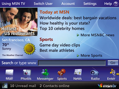MSN TV 2 home page