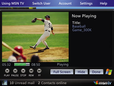 MSN TV 2 Media Player