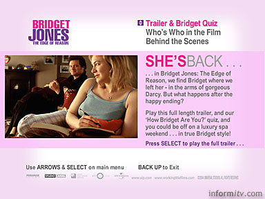 Quiz screen of interactive television advert for Bridget Jones: The Age of Reason (UIP)