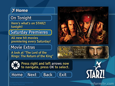 Starz OCAP movie application