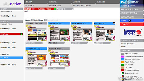 Tamblin i-Zone web browser-based content management screen