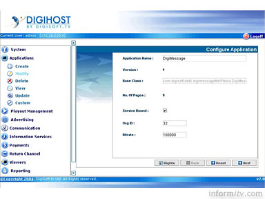 Digihost interactive television application management screen