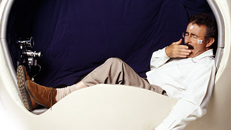 Professor Lord Robert Winston in a sleep pod as part of the interactive BBC television programme How to Sleep Better, Image: BBC