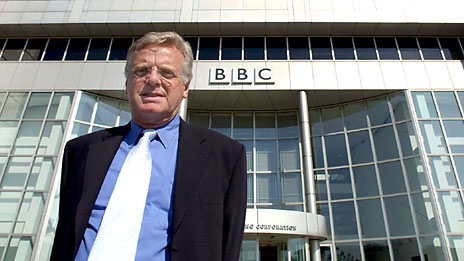 Michael Grade, chairman of the BBC, pictured on his first day as chairman. Photo: BBC/Jeff Overs