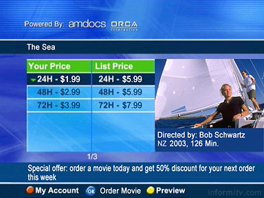 Screen demonstrating the integration of Orca Interactive IPTV middleware and Amdocs customer relationship management solution