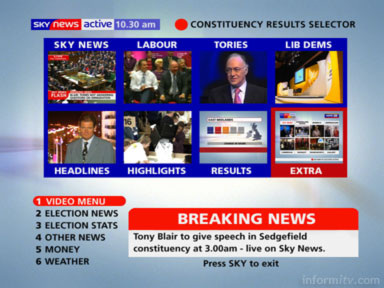 Sky News Active showing eight interactive streams, including a link to a further eight.
