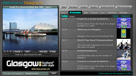 glasgow.tv broadband video service powered by NarrowStep TV in a box