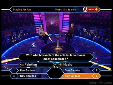 Who Wants to be a Millionaire? interactive application on satellite. Celador for ITV. 28 April 2005.