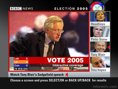 BBC Election 2005 interactive multiscreen coverage of the general election showing four additional streams of coverage available on satellite and cable.