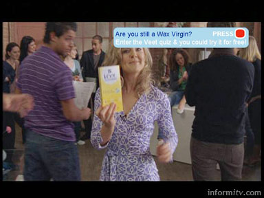 Are you a wax virgin? interactive television ad for Veet wax strips. Reckitt Benckiser / Zip TV.