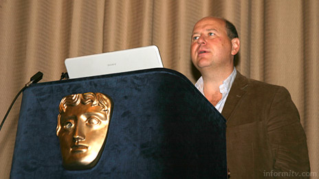 Ian Valentine, technical alliances director of Sky Interactive, presenting the Sky e-business portal at a launch event at BAFTA in London. Photo: informitv