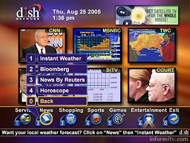 Echostar Dish Network interactive home page mosaic developed by OpenTV