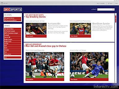 Sky Sports broadband application