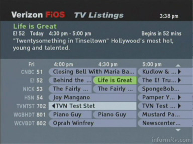 Verizon FiOS TV Interactive Programme Guide
