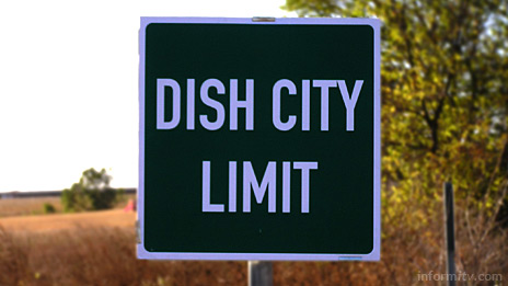 Dish City Limit - The town of Clark changed its name to Dish to promote the Echostar Dish Network satellite television service. Photo: Echostar