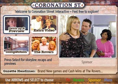 Coronation Street interactive television application available on ITV.