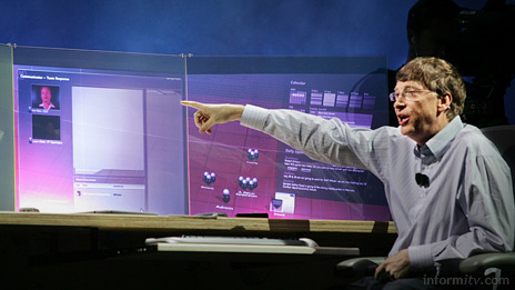 Bill Gates, the Microsoft chairman and chief software architect, demonstrating Windows Vista during his keynote address at the CES 2006 International Consumer Electronics Show in Las Vegas. Photo: Microsoft
