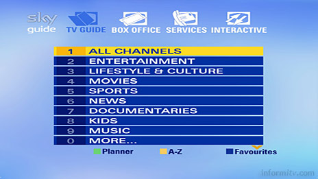 Sky Guide menu showing more channel genres, split over two screens.