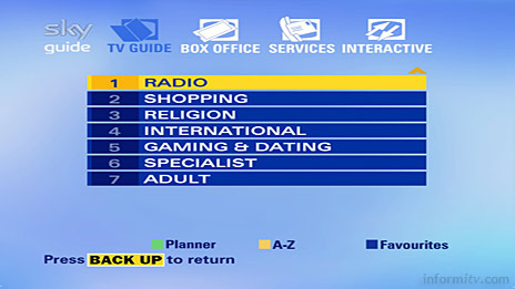 The second page of the Sky Guide now includes a separate listing for radio services.