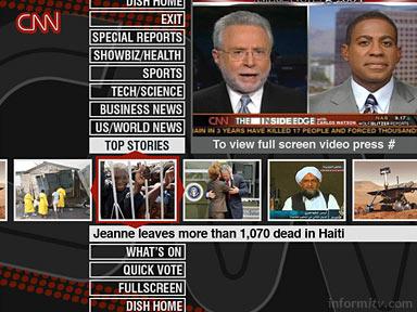 CNN Enhanced TV application created by OpenTV available on the EchoStar Dish Network.