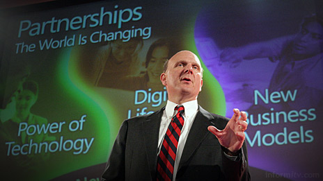 We come as friends. Microsoft chief executive Steve Ballmer delivers a keynote address at the 3GSM World Congress 2006 in Barcelona. Photo: Microsoft