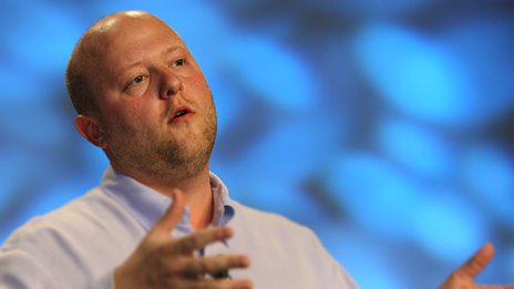 Jeremy Allaire, founder and chief executive of Brightcove, announcing the public launch of their broadband Internet TV service. Photo: NAB