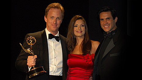 Roger Lynch of Video Networks in the UK receives an International Interactive Emmy award for kids channel Scamp from Veronica Schneider and Alejandro Otero, two telenovela actors from Venezuela.