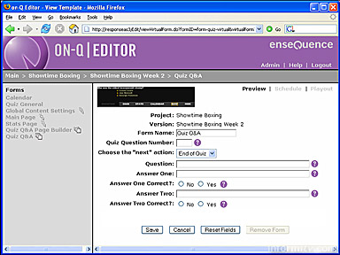 The on-Q Publish Editor allows web-based editing of the content of interactive television applications.
