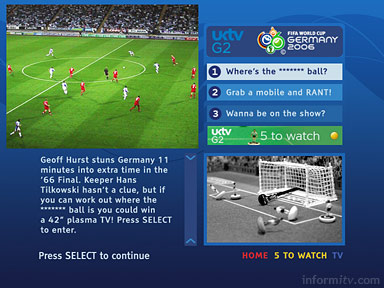 The Ensequence on-Q system will be used to provide interactive applications across the portfolio of UKTV channels, starting with coverage of the World Cup on the G2 channel.