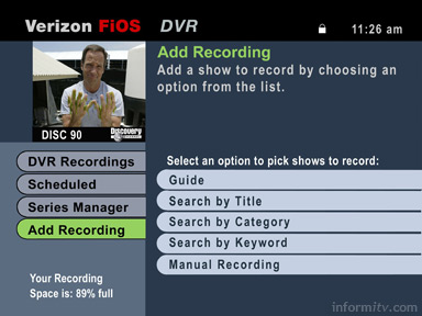 Verizon FiOS TV DVR interface.