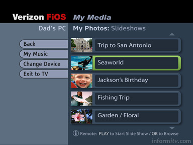 Verizon FiOS TV Media Manager interface.