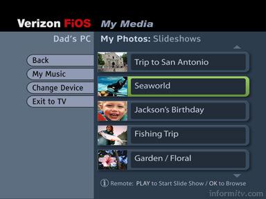 Verizon FiOS TV Media Manager interface.