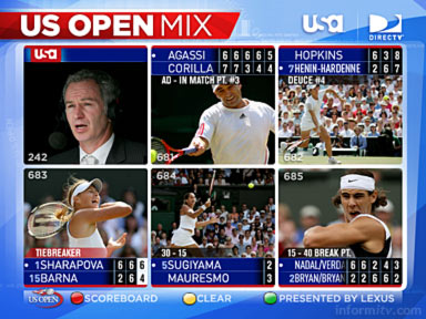 DIRECTV and the USA Network serve the first interactive US Open tennis coverage.