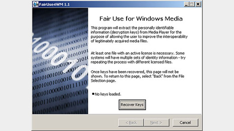 Microsoft Windows Media copy protection compromised by FairUse4WM application
