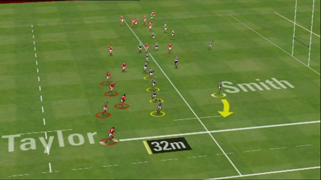 Piero output showing virtual view with player positions and distances calculated automatically. Image: Red Bee Media