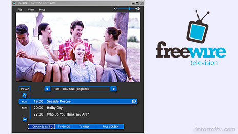 Freewire TV offers broadcast over broadband. The downloadable Freewire PC client displays multicast streams, complete with electronic programme guide.