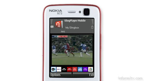 Nokia-N73 handset showing the Sling Mobile interface. Subscribers with a Slingbox will be able to watch their home video services on their mobile phone.