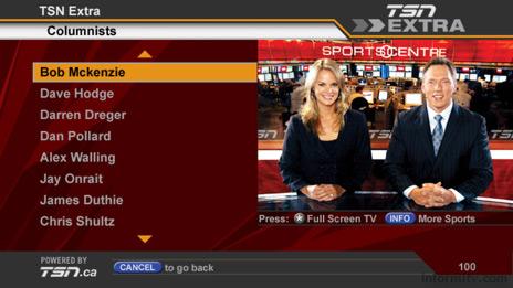 Bell ExpressVu TSN Extra interactive television service.