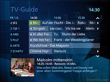 The electronic programme guide for the Bluewin service is based on Microsoft IPTV Edition software.