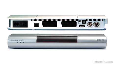 The iplayer features an Ethernet connector, USB port, two SCART connections and an HDMI high-definition digital output.