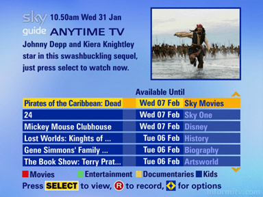 Sky Anytime TV offers push video-on-demand to digital video recorders through the electronic programme guide planner.