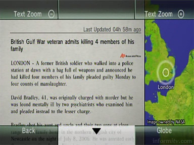 The Nintendo News Channel on the Wii games console showing a news story from the Associated Press.