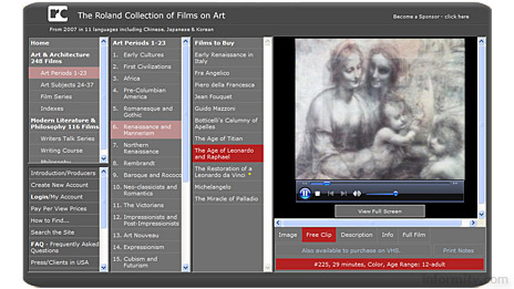 Videos from the Roland Collection of art films are being made globally available over broadband.