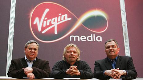 Steve Burch, president and chief executive; Richard Branson, founder of Virgin Group; and Jim Mooney, chairman of Virgin Media. Photo: Vismedia.