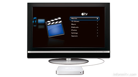 The tiny Apple TV box can be connected to a widescreen television with a single HDMI cable.
